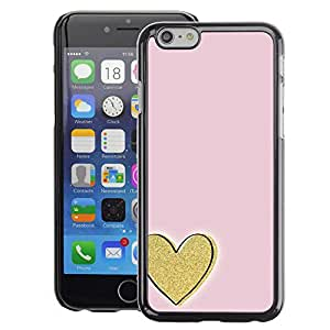 A-type Arte & diseño plástico duro Fundas Cover Cubre Hard Case Cover para iPhone 6 (Gold Love Pink Minimalist)