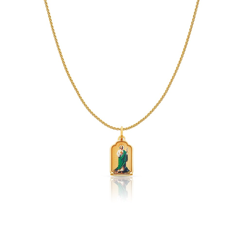 14K Yellow Gold Blessed Virgin Enamel Picture Charm Pendant with 0.9mm Singapore Chain Necklace