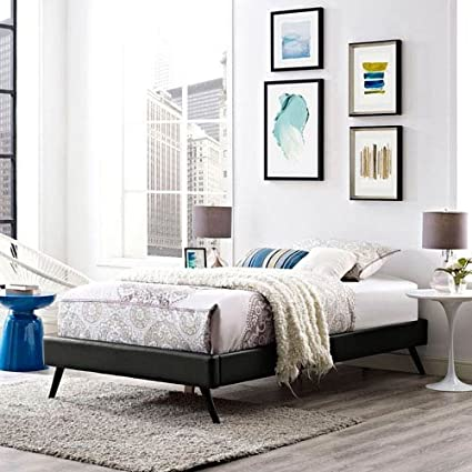 Modway Helen Wood Bed Frame With Round Splayed Legs, Twin, Black