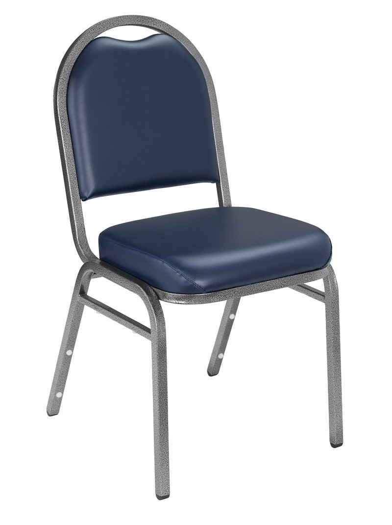 NPS 9204-SV-CN Vinyl-upholstered Dome Back Stack Chair with Steel Silvervein Frame, 300-lb Capacity, 18'' Length x 20'' Width x 34'' Height, Blue (Carton of 4)
