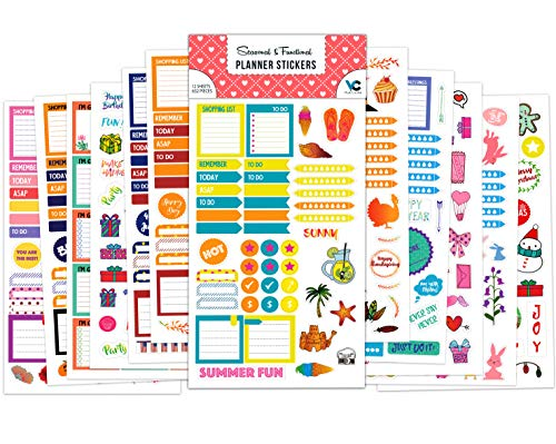 Vladi Creative Planner Stickers - 12 Sheets / 630+ Stickers Value Pack - Productivity & Decorative Stickers for Daily, Weekly, Monthly Planners & Bullet Journals (+Seasonal & Holiday Stickers) (Best Blogs To Read For College Students)