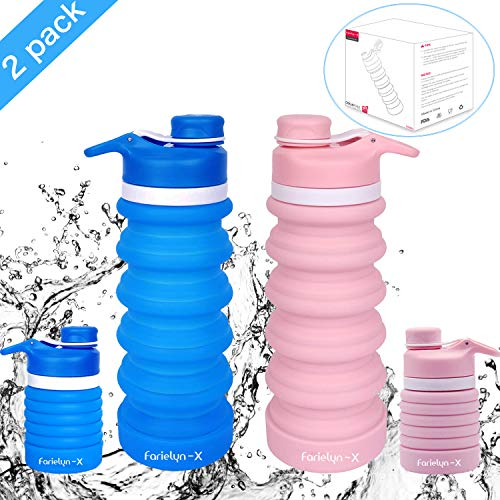 Farielyn-X 2 Pack Collapsible Water Bottle- BPA Free Silicone Foldable Water Bottle for Travel, FDA Approved Food-Grade Silicone Portable Leak-Proof Travel Water Bottle, 19oz (Blue & Pink)
