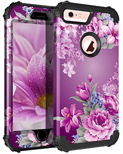 Pandawell Compatible iPhone 6s Plus Case 6 Plus Case Floral 3 in 1 Heavy Duty Hybrid Armor High Impact Shockproof Protective Cover Case for Apple iPhone 6 Plus/6s Plus, Black/Purple Flower