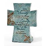 Serenity Prayer Aqua Filigree 4 x 6 Resin Stone Table Top Cross Decoration