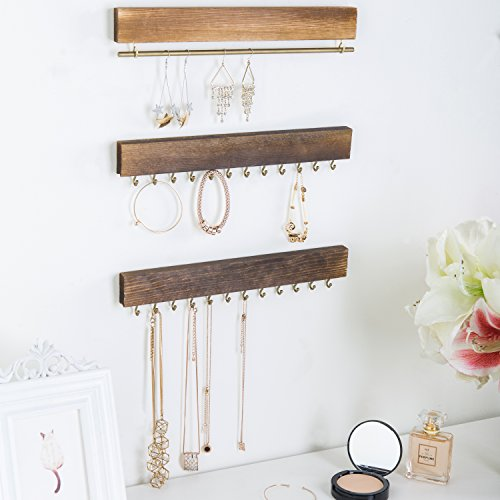 Set of 3 Rustic Wood & Gold Tone Metal Jewelry Organizers / Necklace & Bracelet Hook Racks / Earring Bar by MyGift (Image #3)