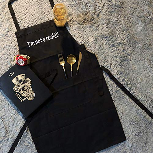 BONCASA I am not a Cook Embroidered Apron 100% Cotton Twill FabricFunny Kitchen Aprons for Women Girl Men Chef Embroidery Apron with Convenient Pocket Extra Long Strap Perfect for Cooking ()
