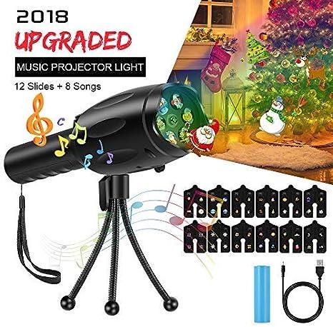 Cool Sen - Proyector LED con 12 diapositivas, 8 carretes de música ...