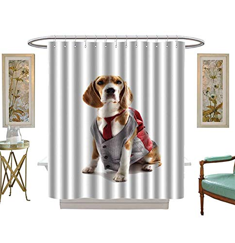 Shower Curtains 3D Digital Printing Serious Business Dog in Elegant Costume Bathroom Set with Hooks Size:W48 x L72 -