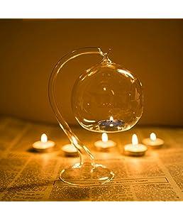 Kicode Boda romántica colgante Decoración transparente Tubular de vidrio Portavelas de bolas Candelero Mesa de comedor ligera
