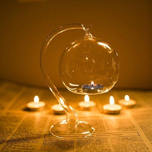 Kicode Boda romantica colgante Decoracion transparente Tubular de vidrio Portavelas de bolas Candelero Mesa de comedor ligera