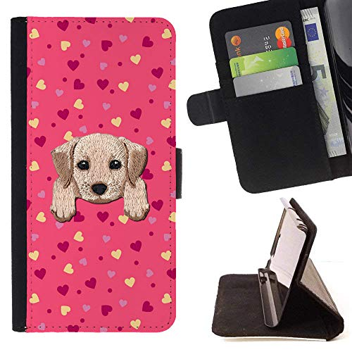 ([ Labrador Retriever ] Embroidered Cute Dog Puppy Leather Wallet Case for LG V30 [ Sweet Pink Yellow Hearts Pattern ])