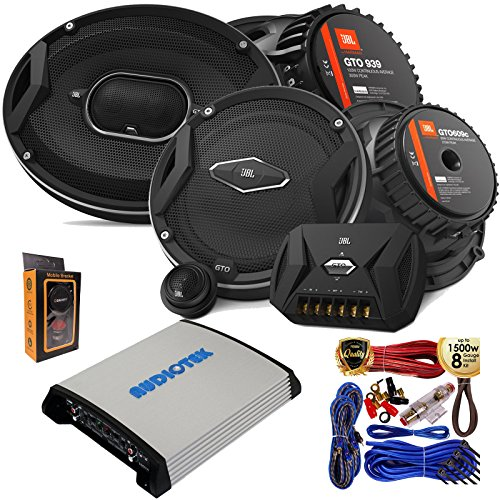 "(2) JBL GTO 939 Premium 6x9"" Co-Axial Speaker + (2) GTO609C Premium 6.5"" Component Speaker System with 4 Channel 1000W Stereo Power Car Amplifier + Amp Kit ()"
