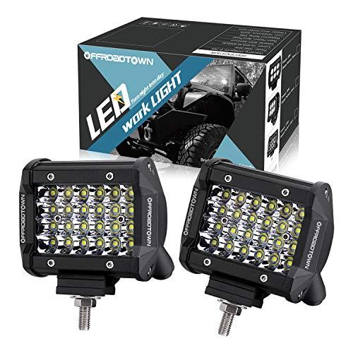 Led Light Cubes (LED Pods, OFFROADTOWN 4inch 144W QUAD Row LED Light Bar OSRAM Work Light Spot Beam Off road Driving Fog lights Waterproof LED Cubes for Truck Jeep)