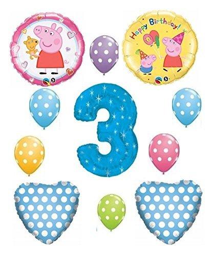 Peppa Pig Blue 3rd Happy Birthday Balloon Bouquet (Cone Shaped Mylar Balloon)