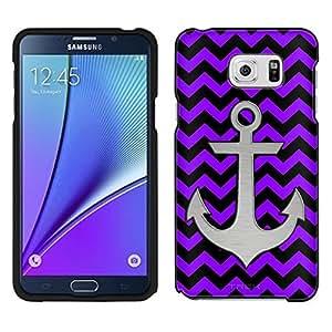 Samsung Galaxy Note 5 Case, Snap On Cover by Trek Anchor on Chevron Zig Zag Purple Black Case