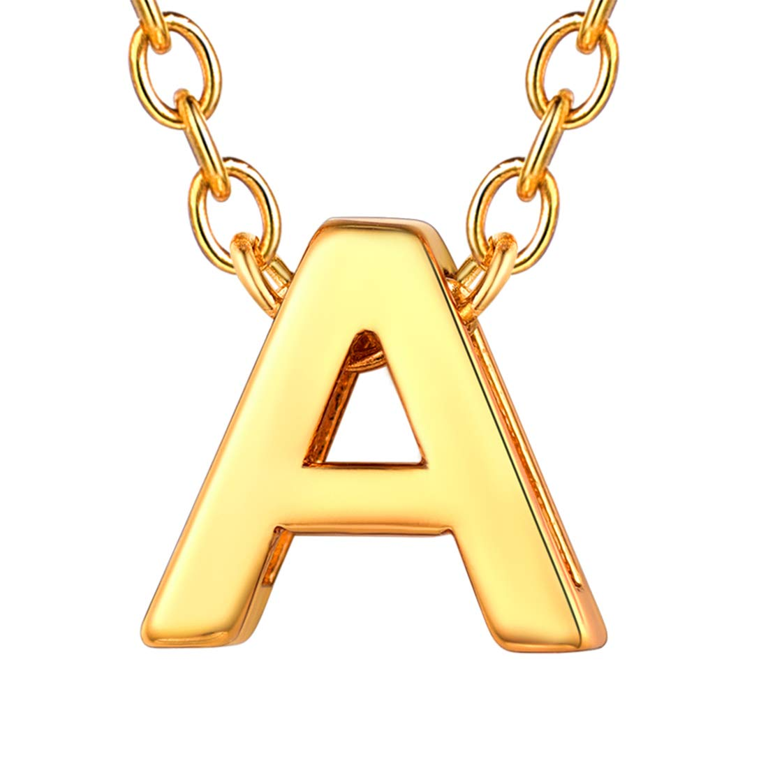 38238ae6b U7 Unique Tiny Initial Necklaces Women Girls Choker Alphabet Letter Jewelry  18K Gold/Stainless Steel/Rose Gold Personalized Monogram Block Name Necklace