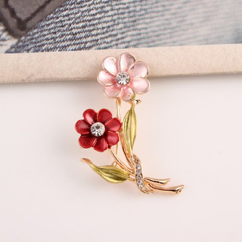 Kitty-Party Antique Style Brooches Vintage Brass Plated Red Pink Flower Branch Leaves Brooches Pin Clip