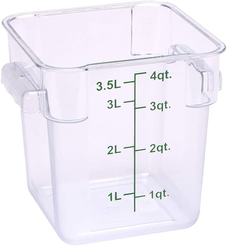 Met Lux 4 Quart Brine Bucket, 1 Square Marinating Container - With Volume Markers, Built-In Handles, Clear And Green Plastic Dough Rising Bucket, Freezer-Safe, Lids Sold Separately
