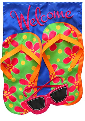 "Briarwood Lane Flip Flops Applique Summer Garden Flag Welcome Sunglasses 12.5"" x 18"""