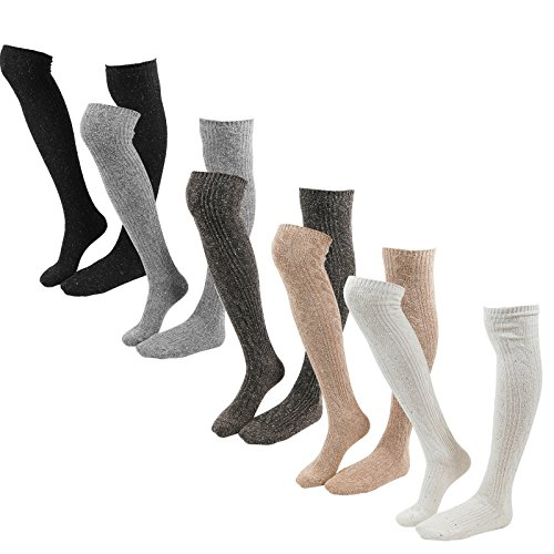 Wool Over-The-Knee High Socks Women Thick Leg warmer Knit Winter Leggings Boots
