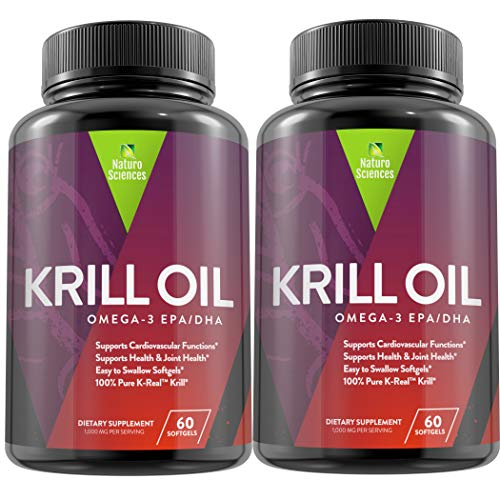 Antarctic Krill Oil Omega 3 Supplement By Naturo Sciences - 100% K-REAL™ Contains: EPA, DHA, Omega-6, Phospholipids, Astaxanthin 60 Softgels, 30 Servings-Pack of Two