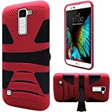 HR Wireless Cell Phone Case for LG K10 - Retail Packaging - Black(PC)/Red(Silicone)