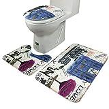 Door Mats, Siniao 3Pcs/set Bathroom Non-Slip Blue Ocean Style Pedestal Rug + Lid Toilet Cover + Bath Mat (Blue)