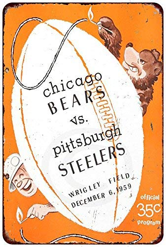 - HarrodxBOX 1959 Chicago Bears Vs. Pittsburgh Steelers Reproduction Metal Sign for Home Wall Art Decor Post Plaque for Women Men 8 x 12
