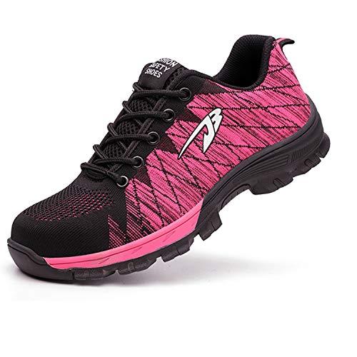 (SUADEX Steel Toe Shoes Men Women, Indestructible Work Shoes Breathable Industrial Construction Non Slip Puncture Proof Composite Safety Toe Shoes 536-Pink Size 8-8.5 Women/6.5-7 Men )