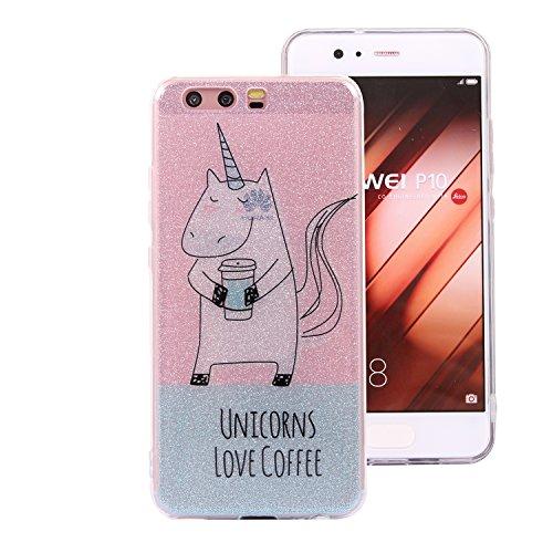 Huawei P10 Bling Case, Huawei P10 Cover, BONROY® Ultra-Thin Soft Gel TPU Silicone Case For Huawei P10, Luxury Glitter Sparkle Perfect Fit Slim Sturdy Bumper Scratch Resist Protective Clear Cute Creati unicorn