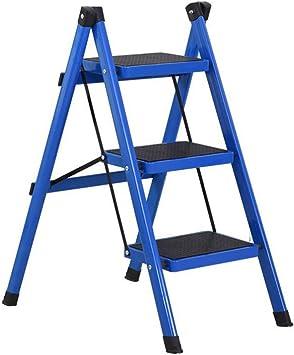 Escalerilla, Escalera de acero de 3 pasos - Patas antideslizantes - Fácil de guardar plegable - Ideal para casa/cocina/garaje Capacidad máxima de 150 kg (Color : Blue): Amazon.es: Bricolaje y herramientas