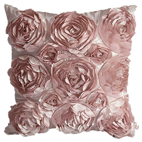ChezMax Square Rose Floral Embroidery Stuffed Cushion Polyester Taffeta Stuffing Throw Pillow Insert for Home Sofa Couch Chair Back Seat