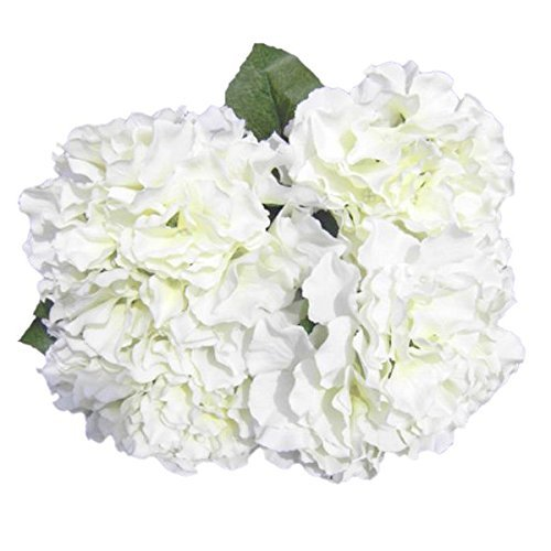 Soledi® Artificial Silk Fake 5 Heads Beautiful Flower Bunch Bouquet Home Hotel Wedding Party Garden Floral Decor Hydrangea -- Milk White