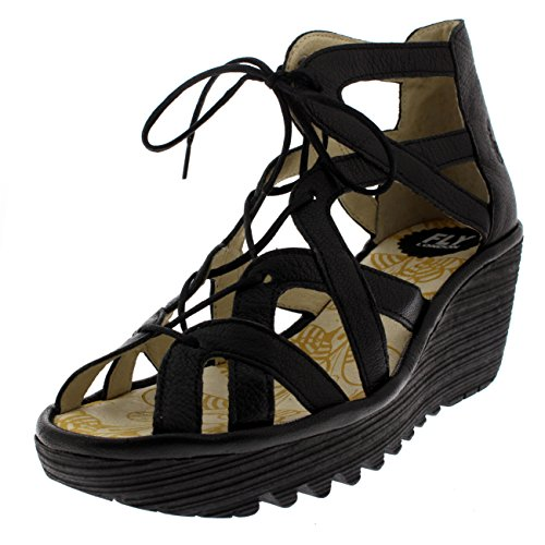 FLY London Womens Yeli Mousse Open Toe Leather Lace up Strappy Wedges - Black - ()