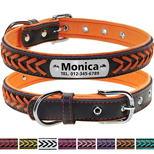 Vcalabashor Custom Leather Collar/Braided Genuine Leather Name Plated Dog Collars for Small Medium Large/Personalized Engraved On Collar Pet ID Tags (XS|S|M|L|XL, - Collar Dog Orange