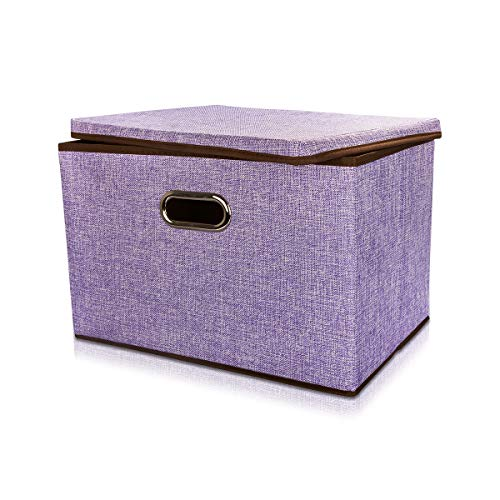 Drhob Foldable Storage Bins Cubes Basket with Lid and Dual Handles, Large Fabric Storage Box Drawer Cloth Closet Shelf Nursery Containers Toy Organizer for Home Office Bedroom,Purple