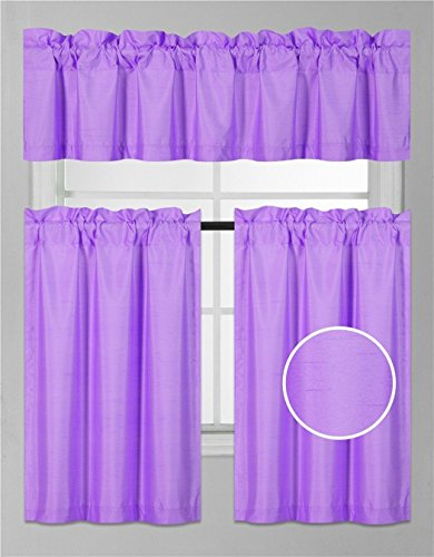 Elegant Home 3 Piece Solid Color Faux Silk Semi Blackout Kitchen Window Curtain Set with Tiers and Valance Solid Color White Lined Thermal Blackout Drape Window Treatment Set #K4 (Lilac Kitchen)