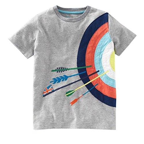 (Hot Sale!Kstare Baby Boys' Short Sleeve Cartoon Pattern Casual T-Shirt Tops Tee (12M-24M, Gray))