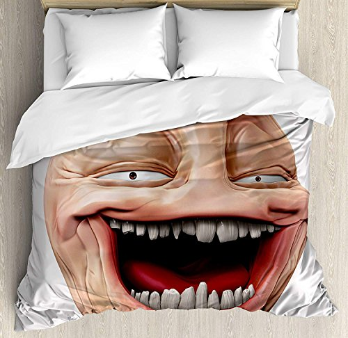 Humor 3D Duvet Cover Sets Bedspread for Adult Kids, Fitted Sheet, Pillowcase Twin Size, 4pc Luxury Bedding Set Poker Face Guy Meme Laughing Mock Person Smug Stupid Odd Post Forum Graphic by Shailing