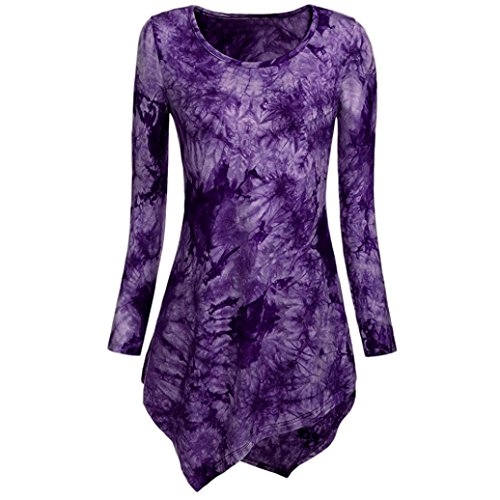 iLH Lightning Deals Tunic Top,ZYooh Women Long Sleeve O Neck Tie Dyed Hankerchief Hemline Blouse T-Shirt (Purple, XXL) (Deals)