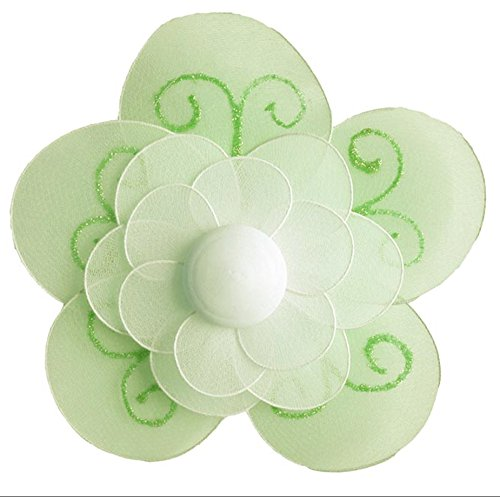 "Hanging Flower Medium 8"" Green Shimmer Nylon Mesh Flowers Decorations Decorate Baby Nursery Bedroom Girls Room Ceiling Wall Decor Birthday Party Bridal Baby Shower Bathroom Kids Childrens 3D Art DIY"