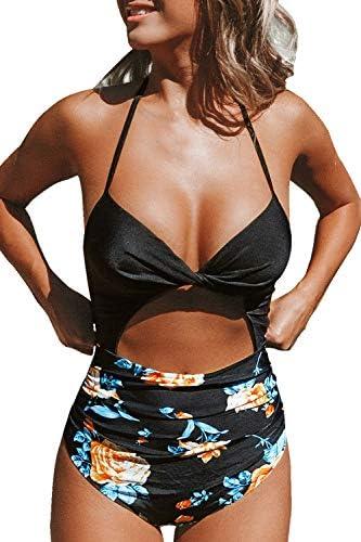 CUPSHE Women's Black Floral Print Halter Cutout High Waist One Piece Swimsuit