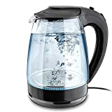 1.7-Liter Glass Electric Tea Kettle 1500-Watt Cordless Teapot LED Illumination by Dwell Appliance