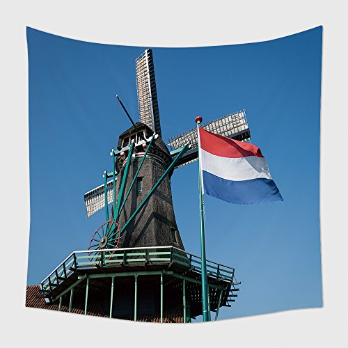Home Decor Tapestry Wall Hanging Netherlands Flag And Windmill At Zaanse Schans Netherlands for Bedroom Living Room - Mills Colorado At Shops