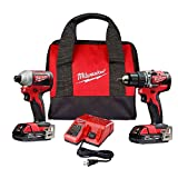 Milwaukee 2900-22CT M18 18V Li-Ion Brushless Cordless Compact Hammer Drill/Impact Combo Kit (2-Tool) W/ (2) 2.0Ah Batteries