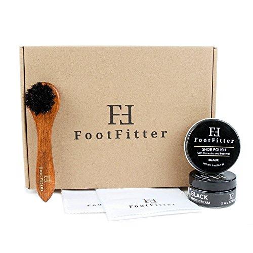 FootFitter Basic Shoe Care Set (BLACK)- Shoe Polish, Cream, Dauber Brush, Polishing Cloths from FootFitter