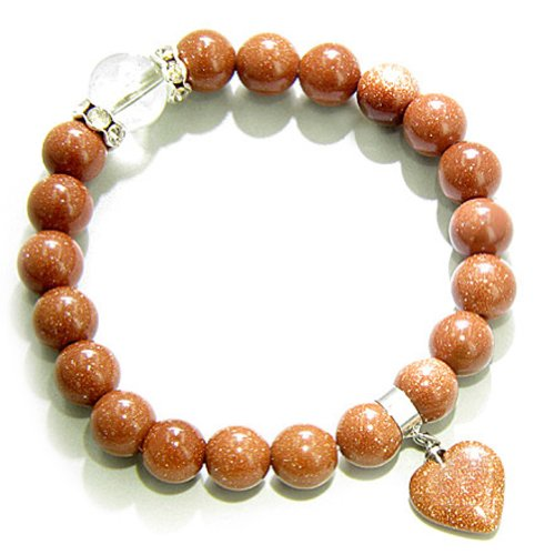 Eye St7 - Cute Crystals and Goldstone Heart Good Luck Talisman Bracelet