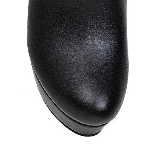 AgooLar Damen Rund Zehe Hoch-Spitze Blend-Materialien Hoher Absatz Stiefel Schwarz-Reißverschluss