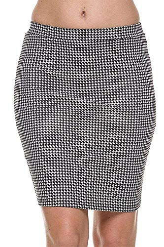 (TheLovely Houndstooth Print Stretch Waist Pencil Straight Bodycon Knit Mini Skirt (White, Large))