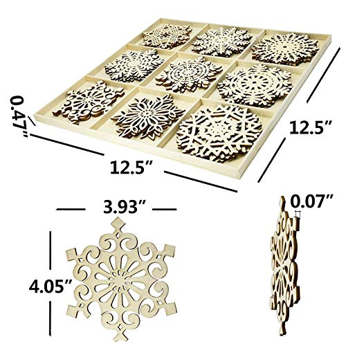Set Of 27 Hanging Wood Snowflakes Ornamentschristmas Snowflake Decorationunfinished Wooden Snowflakes Large For Crafts Winter Wedding Decor Xmas